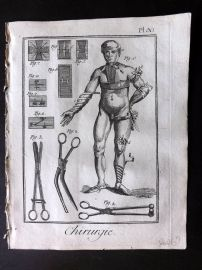 Diderot 1780's Antique Medical Print. Chirurgie 30